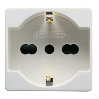 ITALIAN/GERMAN STANDARD SOCKET-OUTLET 250V ac - 2P+E 16A DUAL AMPERAGE - P40 - 2 MODULES - SYSTEM WHITE