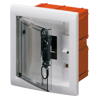 FLUSH-MOUNTING ENCLOSURE WITH SMOKED TRANSPARENT DOOR 4 MODULES IP40
