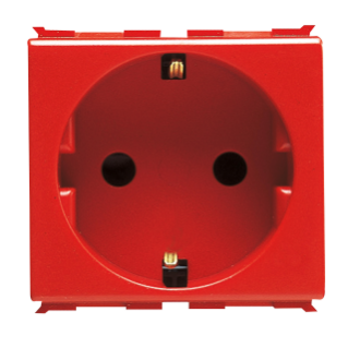 GERMAN STANDARD SOCKET-OUTLET 250V ac  - FOR DEDICATED LINES - 2P+E 16A - 2 MODULES - RED - PLAYBUS