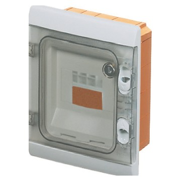 Watertight flush-mounting modular enclosures with shockproof fronts - Grey RAL 7035