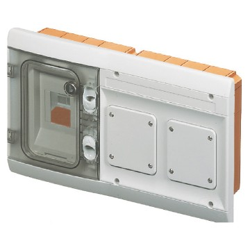Watertight flush-mounting combined board fitted for modular devices and for 2 flanges 85x75 mm for mounting IEC 309 standard socket-outlets - shockproof front - Grey RAL 7035