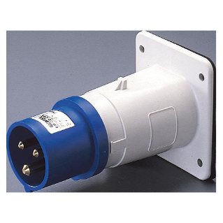 STRAIGHT FLUSH MOUNTING INLET - IP44 - 2P+E 32A 200-250V 50/60HZ - BLUE - 6H - SCREW WIRING