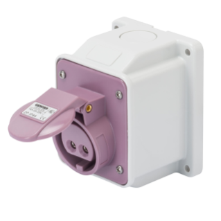 10° ANGLED SURFACE-MOUNTING SOCKET-OUTLET - IP44 - 2P 32A 20-25V 50-60HZ - VIOLET - n.r. - SCREW WIRING