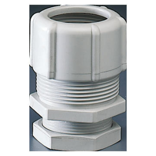 SHOCKPROOF POLYMER CONDUIT/BOX COUPLING - HOLE Ø 23MM - FOR EXTERNAL CONDUITS 20MM - GREY RAL7035 - IP66