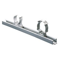 Modular lock-joint rail to fix shockproof polymer supports - Grey RAL 7035