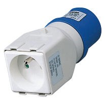Wired system adapters from industrial to domestic IEC 309 plug IP44 / Socket-couplers for residential use - 50/60 Hz