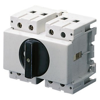 Isolator switches for DIN rail with black knob