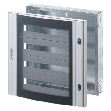 Preassembled distribution boards in painted sheet steel - Colour grey RAL 7035 Complete with outfit for modular devices - Without door Curved smoked tempered safety glass door with 2 locks