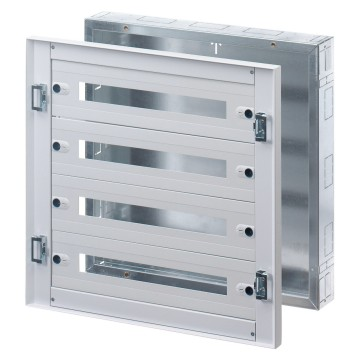 Preassembled distribution boards in painted sheet steel - Colour grey RAL 7035 Complete with outfit for modular devices - Without door