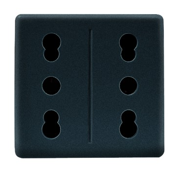 Italian standard quick wiring double socket-outlet - 250V ac