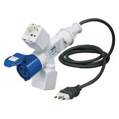 Conversion adaptor shunt with 2 m of flexible cable: plug for domesticuse / sockets-outlets for domestic use / IEC 309 socket-coupler IP44 - 50/60Hz