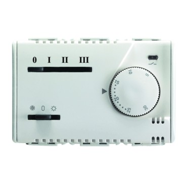 Electronic summer/winter thermostat with knob adjustment for fan-coil, 3-speed selector and solenoid valve command 230V - 50/60HZ