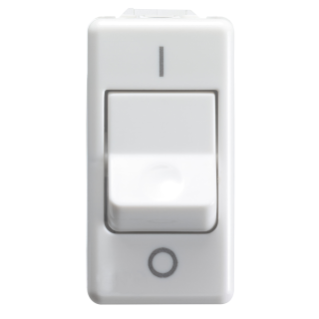 ONE-WAY SWITCH 2P 250V ac - FOR HEAVY DUTY - 25AX - NEUTRAL - SYMBOL 0/I - 1 MODULE - SYSTEM WHITE