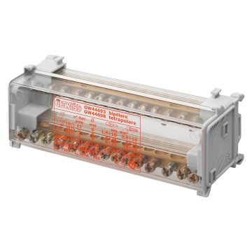Two-pole distribution terminal blocks with transparent protection cover fixing on plate or DIN rail EN 50022 - 750V - T 85°C