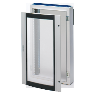 CVX DISTRIBUTION BOARD 160E - SURFACE-MOUNTING - 600x600x200 - IP40 - WITH CURVED GLASS DOOR - WITH EXTRACTABLE FRAME- GREY RAL7035