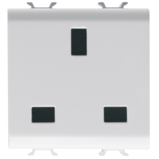 BRITISH STANDARD SOCKET-OUTLET 250V ac - 2P+E 13A - 2 MODULES - WHITE - CHORUS