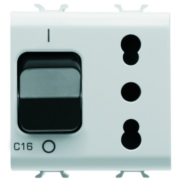 Interlocked switched socket-outlets with miniature circuit breaker - 230V ac