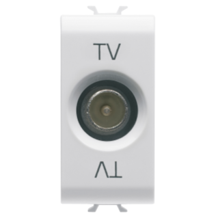 COAXIAL TV SOCKET-OUTLET, CLASS A SHIELDING - IEC MALE CONNECTOR 9,5mm - FEEDTHROUGH 10 dB - 1 MODULE - WHITE - CHORUS
