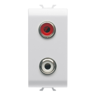 AUDIO AND VIDEO SOCKET -  DOUBLE RCA - 1 MODULE - WHITE - CHORUS