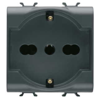 ITALIAN/GERMAN STANDARD SOCKET-OUTLET 250V ac - 2P+E 16A DUAL AMPERAGE - 2 MODULES - BLACK - CHORUS