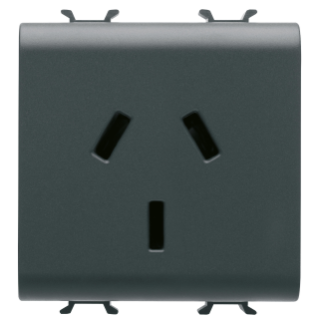 ARGENTINIAN STANDARD SOCKET-OUTLET 250V ac - 2P+E 10A - 2 MODULES - BLACK - CHORUS