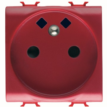 French Standard socket-outlet for dedicated lines, with front tightening terminals - 250V AC