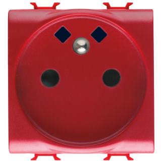 FRENCH STANDARD SOCKET-OUTLET 250V ac - FRONT TIGHTENING TERMINALS - FOR DEDICATED LINES - 2P+E 16A - 2 MODULES - RED - CHORUS