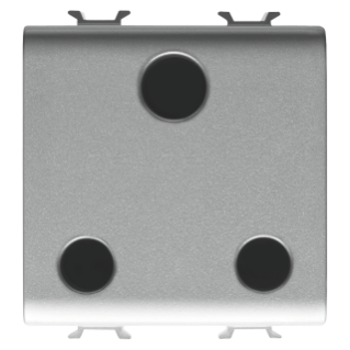 INDIAN/SOUTH AFRICAN STANDARD SOCKET-OUTLET 250V ac - 2P+E 16A - 2 MODULES - TITANIUM - CHORUS
