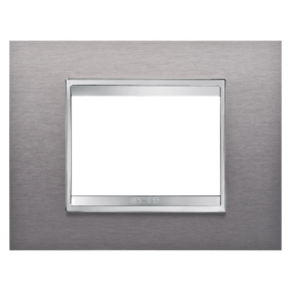 LUX PLATE - METAL - 3 MODULES - BRUSHED STAINLESS STEEL - CHORUS
