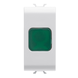 SINGLE INDICATOR LAMP - GREEN - 1 MODULE - WHITE - CHORUS