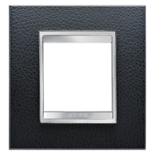 LUX INTERNATIONAL PLATE - IN TECHNOPOLYMER LEATHER FINISHING - 2 GANG - BLACK - CHORUS