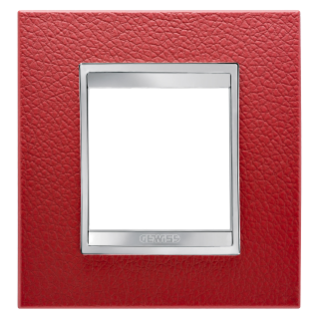 LUX INTERNATIONAL PLATE - IN TECHNOPOLYMER LEATHER FINISHING - 2 GANG - RUBY - CHORUS