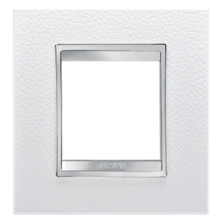 LUX INTERNATIONAL PLATE - IN TECHNOPOLYMER LEATHER FINISHING - 2 GANG - WHITE - CHORUS