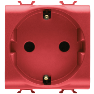 GERMAN STANDARD SOCKET-OUTLET 250V ac - FOR DEDICATED LINES - 2P+E 16A - 2 MODULES - RED - CHORUS