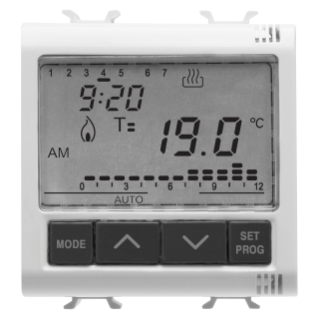 TIMED THERMOSTAT DAILY/WEEKLY PROGRAMMING - 230V ac 50/60Hz - 2 MODULES - WHITE - CHORUS