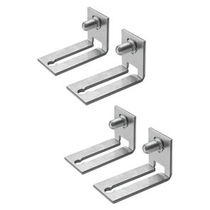 Set of 4 reversible squares for fixing back-mounting plates or uprights for modular equipment