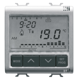 TIMED THERMOSTAT DAILY/WEEKLY PROGRAMMING - 230V ac 50/60Hz - 2 MODULES - TITANIUM - CHORUS