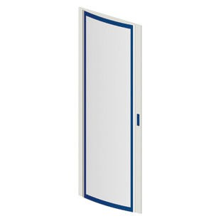 Transparent doors in curved, smoked glass, tempered for safety and fitted with handle and rod-mechanism lock