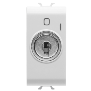 PUSH-BUTTON 2P 250V ac - NO 10A - WITH KEY - 1 MODULE - WHITE - CHORUS