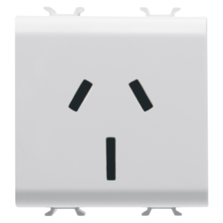 AUSTRALIAN STANDARD SOCKET-OUTLET 250V ac - 2P+E 15A - 2 MODULES - WHITE - CHORUS