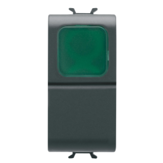 PUSH-BUTTON 1P 250V ac - NO 16A -  GREEN DIFFUSER - 1 MODULE - BLACK - CHORUS