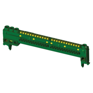 INSULATING EARTH TERMINAL BLOCK - IP20 - 3X25 + 12X4 FOR FRENCH STANDARD MODULAR ENCLOSURES - 13-39 MODULES - GREEN