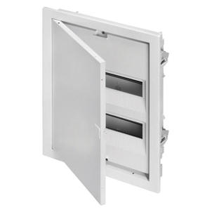 PROTECTED FLUSH-MOUNTING ENCLOSURE FOR PLASTERBOARD WALLS - WITH TERMINAL BLOCKS - 12 MODULES - BLANK DOOR AND METAL FRAME