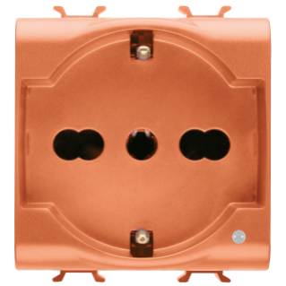 ITALIAN/GERMAN STANDARD SOCKET-OUTLET 250V ac - FOR DEDICATED LINES - 2P+E 16A DUAL AMPERAGE - P30-P17 - 2 MODULES - ORANGE - CHORUS