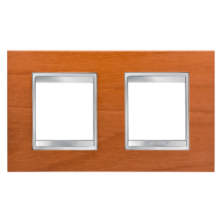 LUX INTERNATIONAL PLATE - IN TECHNOPOLYMER WOOD FINISHING - 2+2 GANG HORIZONTAL - CHERRY - CHORUS