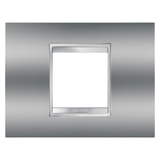 LUX PLATE - IN METALLISED TECHNOPOLYMER - 2 GANG - CHROME - CHORUS