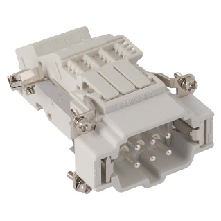 MALE INSERT - 44X27 - 6P+E 16A 500V/6kV/3 - SCREW TERMINAL BLOCK - LEFT - GREY