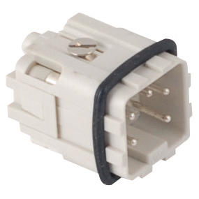 MALE INSERT - 21X21 - 4P+E 10A 250V/4kV/3 - SCREW CONNECTION - GREY