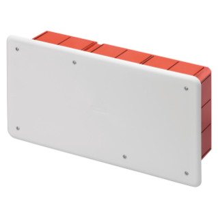JUNCTION AND CONNECTION BOX - FOR BRICK WALLS - WITH DIN RAIL - DIMENSIONS 294X152X75 - WHITE LID RAL9016