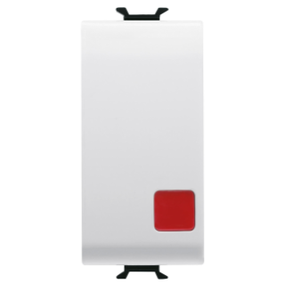 PUSH-BUTTON 1P 250V ac - NC+NO 16A - STOP - SYMBOL: RED CIRCLE - 1 MODULE - WHITE - CHORUS